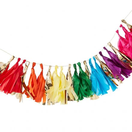 Gold & Rainbow Tassel Garland Kit